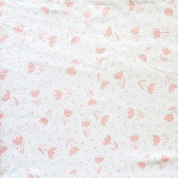 Pink Tulips on White Cotton Lycra Knit Fabric