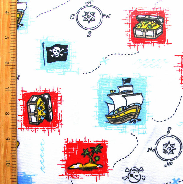 "Pirate Adventure Cotton Knit Fabric - 30"" Remnant Piece"