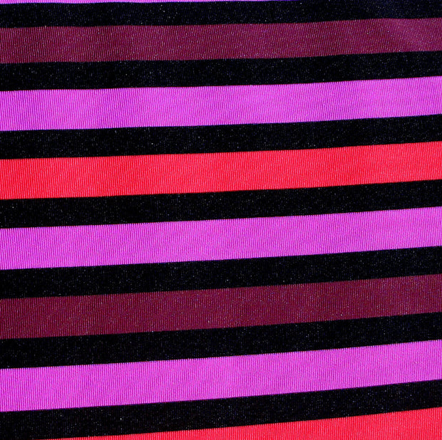 "Pink, Plum, Coral, and Black Stripes Swimsuit Fabric - 30"" Remnant Piece"