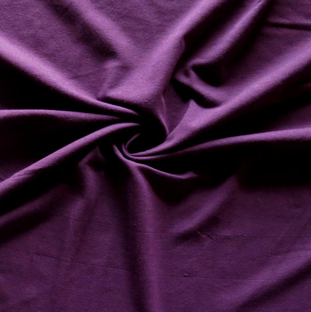 Plum Bamboo Organic Cotton Spandex Jersey Knit Fabric