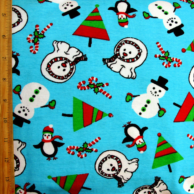 "Polar Bear Christmas Cotton Knit Fabric - 29"" Remnant Piece"