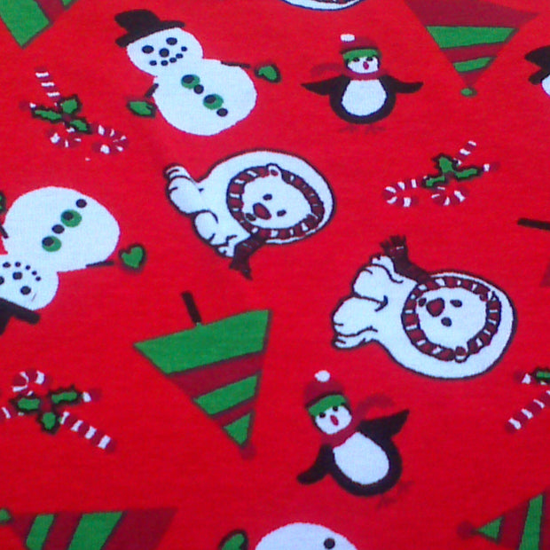 Polar Bear Christmas Cotton Interlock Fabric, Red Colorway