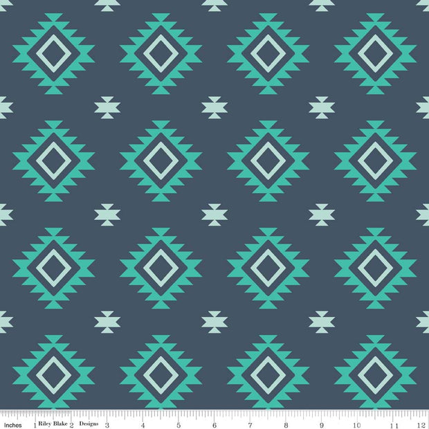 Teal Aztec Cotton Lycra Knit Fabric by Riley Blake