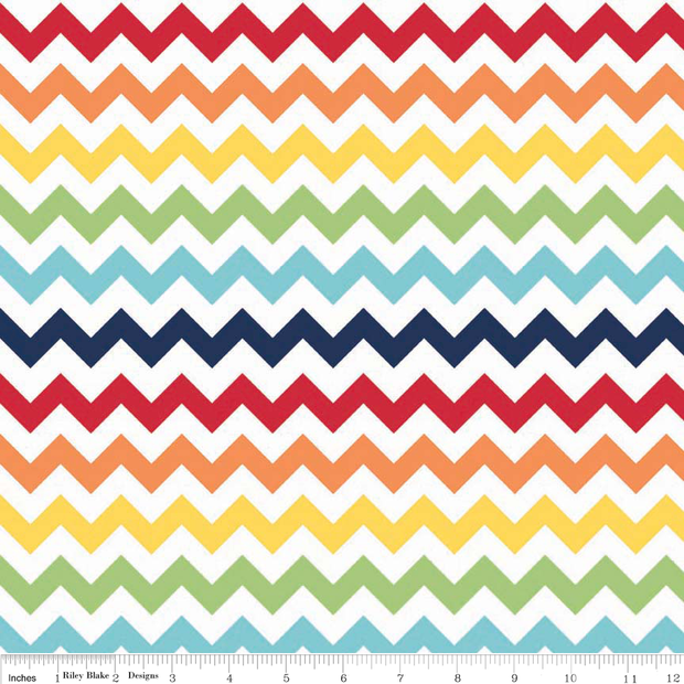 Small Chevron Rainbow Cotton Lycra Knit Fabric by Riley Blake