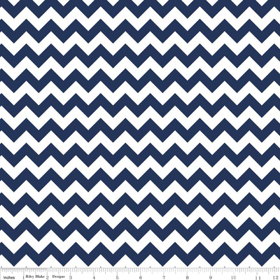 Small Chevron Navy and White Cotton Lycra Knit Fabric by Riley Blake
