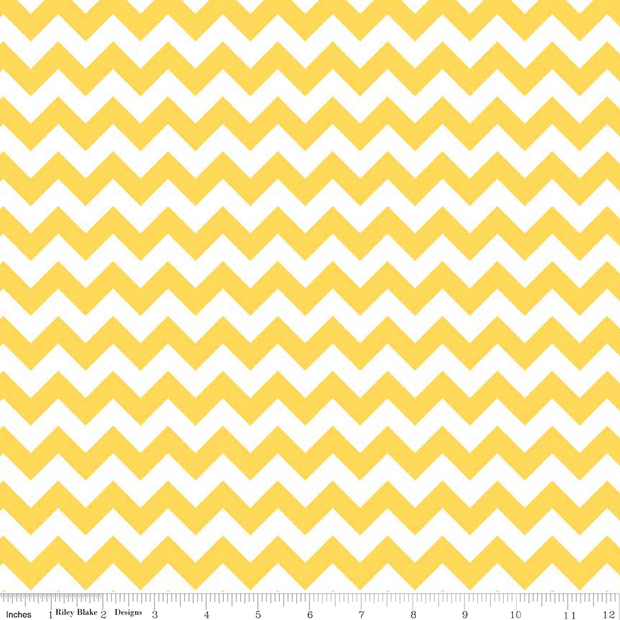 Small Chevron Yellow and White Cotton Lycra Knit Fabric by Riley Blake