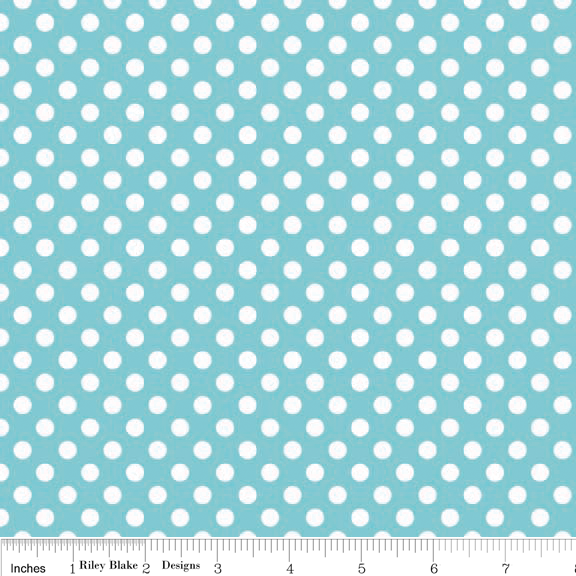 Small Dots White on Aqua Cotton Lycra Knit Fabric by Riley Blake