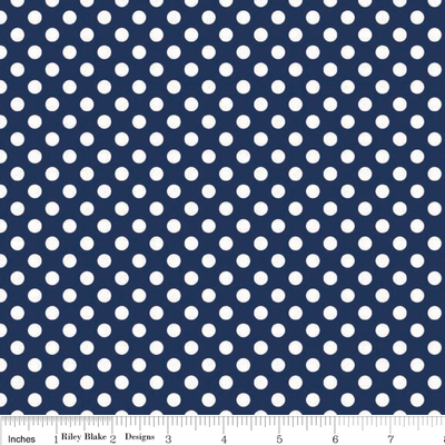 Small Dots White on Navy Cotton Lycra Knit Fabric by Riley Blake