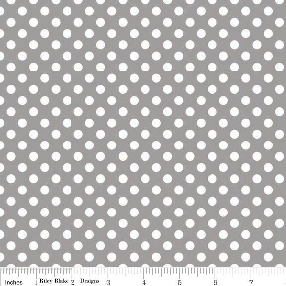 Small Dots White on Grey Cotton Lycra Knit Fabric by Riley Blake