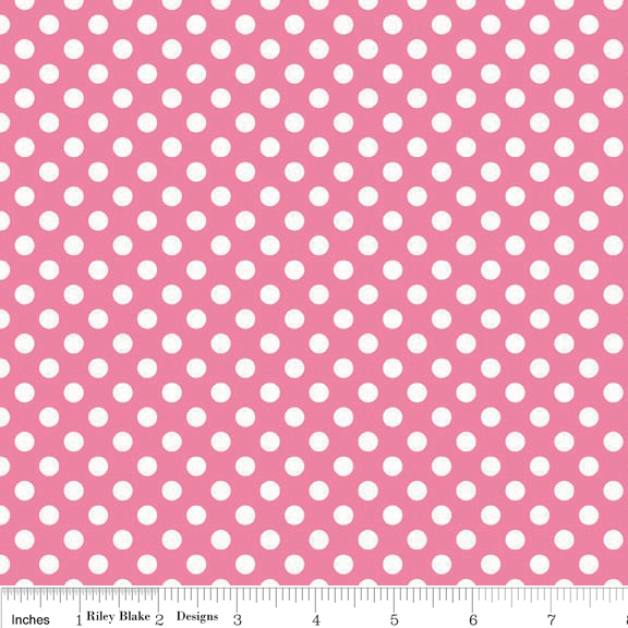 Small Dots White on Hot Pink Cotton Lycra Knit Fabric by Riley Blake