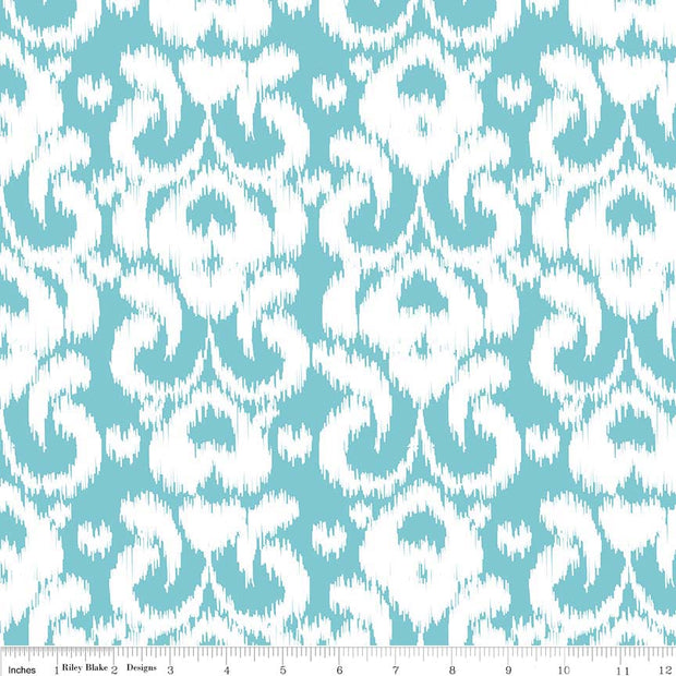 Ikat Knit Aqua Cotton Lycra Knit Fabric by Riley Blake