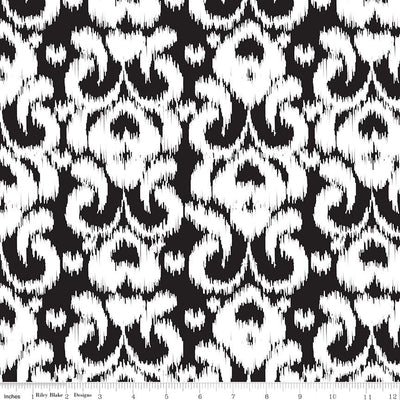 Ikat Knit Black Cotton Lycra Knit Fabric by Riley Blake