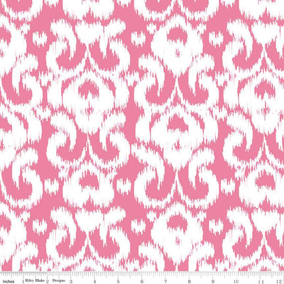 Ikat Knit Hot Pink Cotton Lycra Knit Fabric by Riley Blake