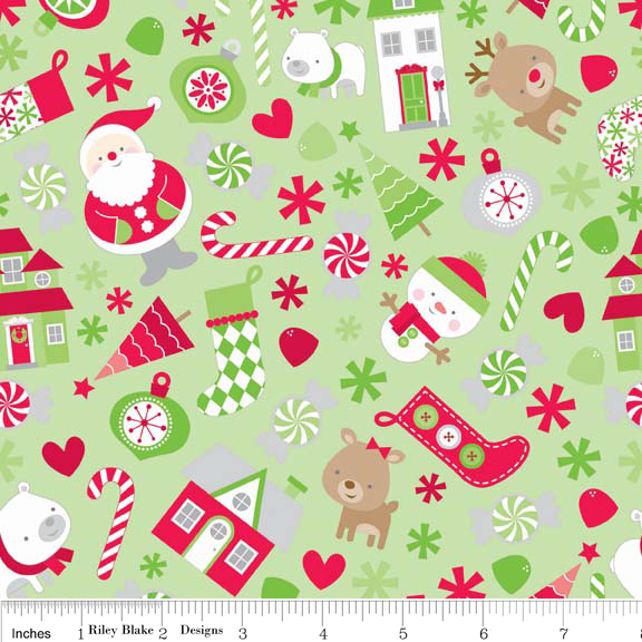 Holidays Main Green Cotton Lycra Knit Fabric by Riley Blake