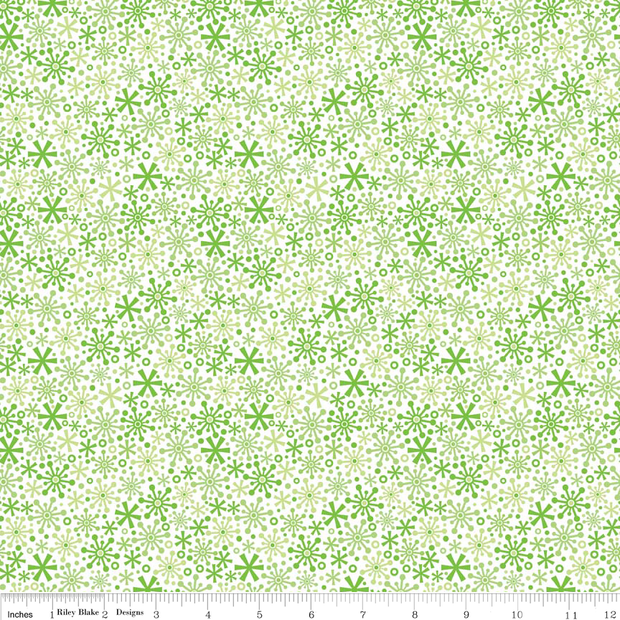 Holidays Flakes Green Cotton Lycra Knit Fabric by Riley Blake