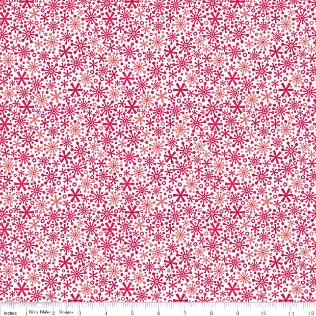 Holidays Flakes Red Cotton Lycra Knit Fabric by Riley Blake