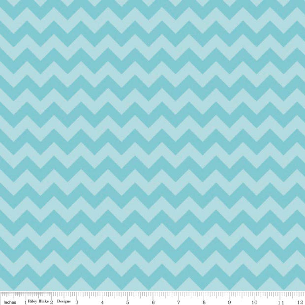 Small Chevron Aqua Tonal Cotton Lycra Knit Fabric by Riley Blake
