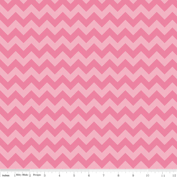 Small Chevron Hot Pink Tonal Cotton Lycra Knit Fabric by Riley Blake