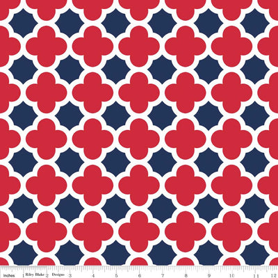 Quatrefoil Red/Navy Cotton Lycra Knit Fabric by Riley Blake