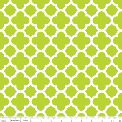 Quatrefoil Lime Cotton Lycra Knit Fabric by Riley Blake