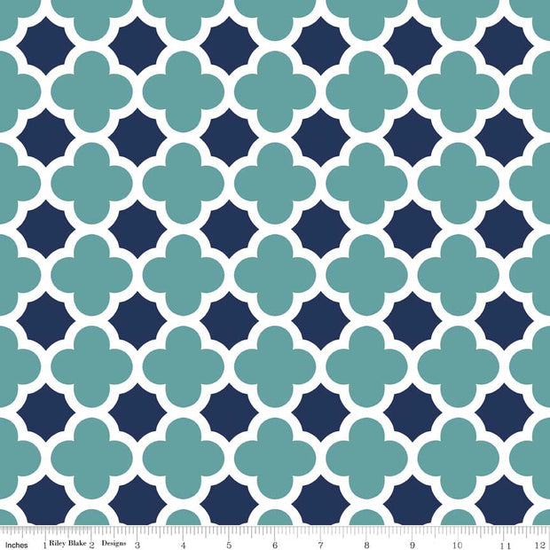 Quatrefoil Teal/Navy Cotton Lycra Knit Fabric by Riley Blake