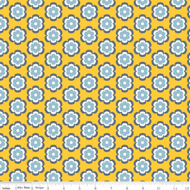 Vivid Leilani Marigold Cotton Lycra Knit Fabric by Riley Blake