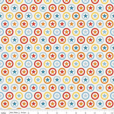 Lucky Star Circle Cream Cotton Lycra Knit Fabric by Riley Blake