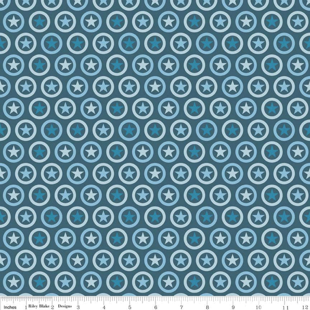 Lucky Star Circle Navy Cotton Lycra Knit Fabric by Riley Blake