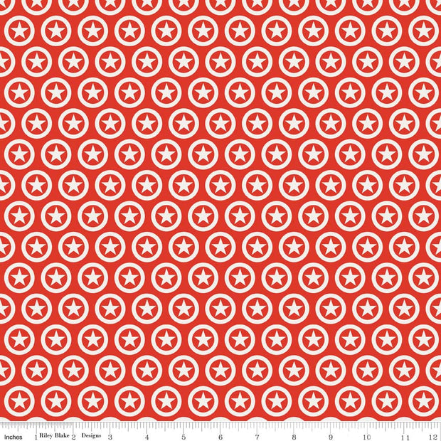 Lucky Star Circle Red Cotton Lycra Knit Fabric by Riley Blake
