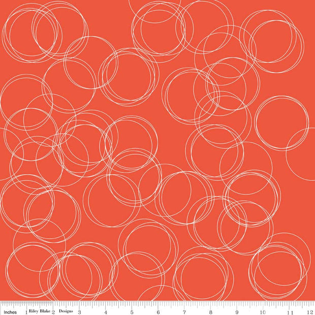 Four Corners Circles Coral Cotton Lycra Knit Fabric by Riley Blake