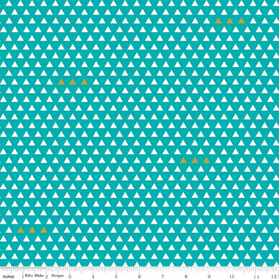 Four Corners Triangle Teal Cotton Lycra Knit Fabric by Riley Blake