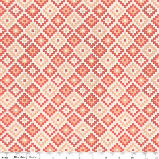 Woodland Spring Geometric Coral Cotton Spandex Knit Fabric by Riley Blake