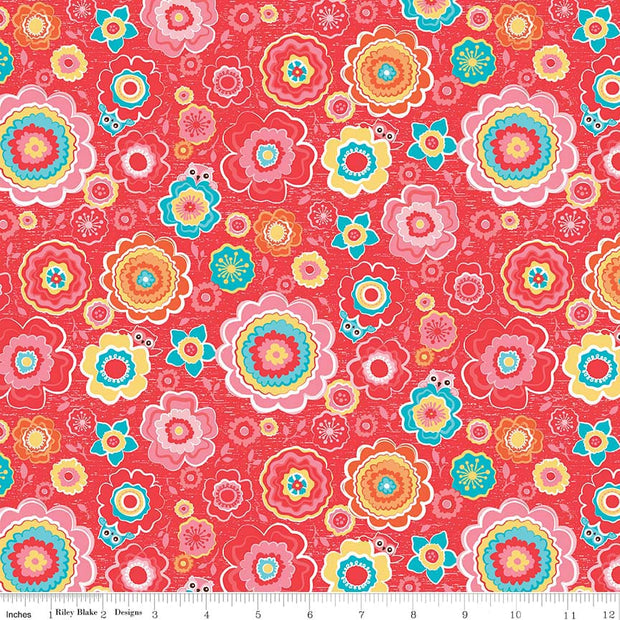 Tree Party Floral Red Cotton Lycra Knit Fabric by Riley Blake