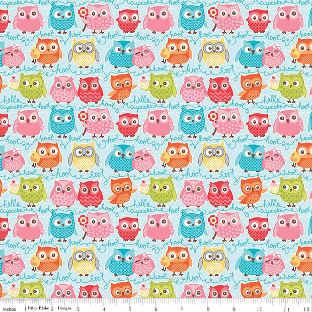Tree Party Owls Blue Cotton Lycra Knit Fabric by Riley Blake