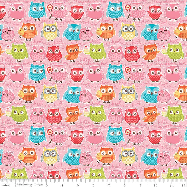 Tree Party Owls Pink Cotton Lycra Knit Fabric by Riley Blake
