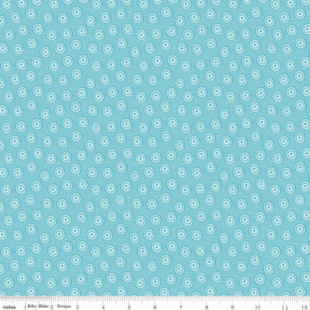 Tree Party Mini Floral Blue Cotton Lycra Knit Fabric by Riley Blake