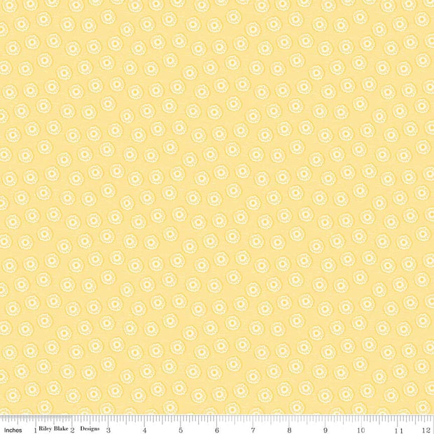 Tree Party Mini Floral Yellow Cotton Lycra Knit Fabric by Riley Blake