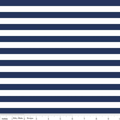 1/2 Inch Stripe Navy and White Cotton Lycra Knit Fabric by Riley Blake