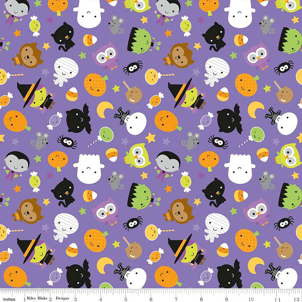 Ghouls and Goodies Main Purple Cotton Lycra Knit Fabric by Riley Blake - Seconds