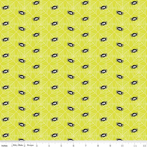 Ghouls and Goodies Spider Lime Cotton Lycra Knit Fabric by Riley Blake