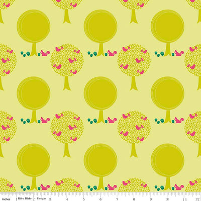 Acorn Valley Forest Citron Cotton Lycra Knit Fabric by Riley Blake