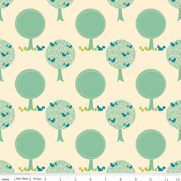 Acorn Valley Forest Cream Cotton Lycra Knit Fabric by Riley Blake