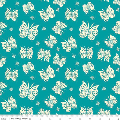 Acorn Valley Flutter Teal Cotton Lycra Knit Fabric by Riley Blake