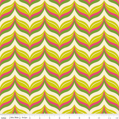 "Acorn Valley Leafy Chevron Citron Cotton Lycra Knit Fabric by Riley Blake - 31"" Remnant"