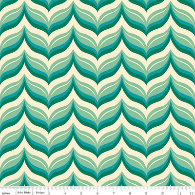 Acorn Valley Leafy Chevron Teal Cotton Lycra Knit Fabric by Riley Blake
