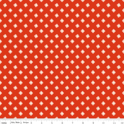 Acorn Valley Bloom Dot Red Cotton Lycra Knit Fabric by Riley Blake