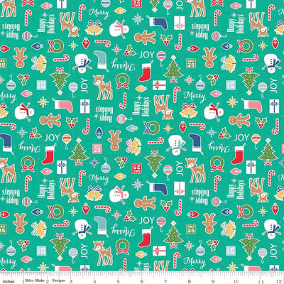 Cozy Christmas Main Teal Cotton Lycra Knit Fabric by Riley Blake