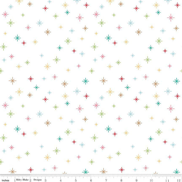 Cozy Christmas Sparkle White Cotton Lycra Knit Fabric by Riley Blake