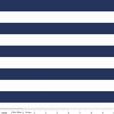 1 Inch Stripe Navy and White Cotton Lycra Knit Fabric by Riley Blake