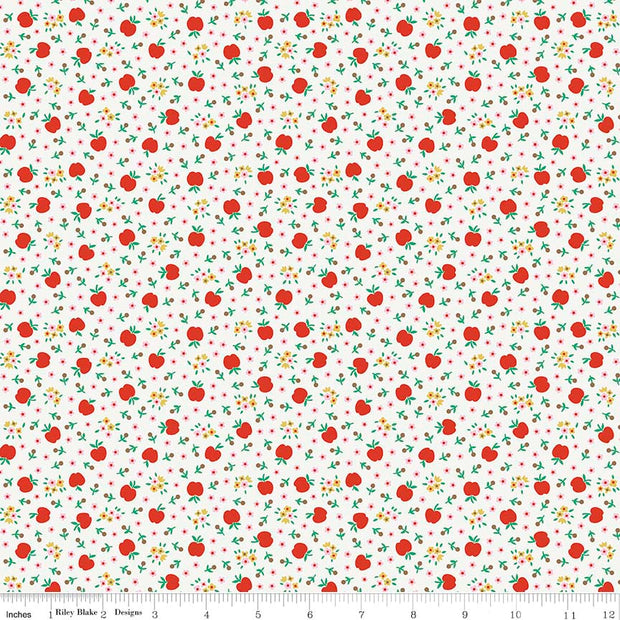 Apple Fresh White Cotton Lycra Knit Fabric by Riley Blake